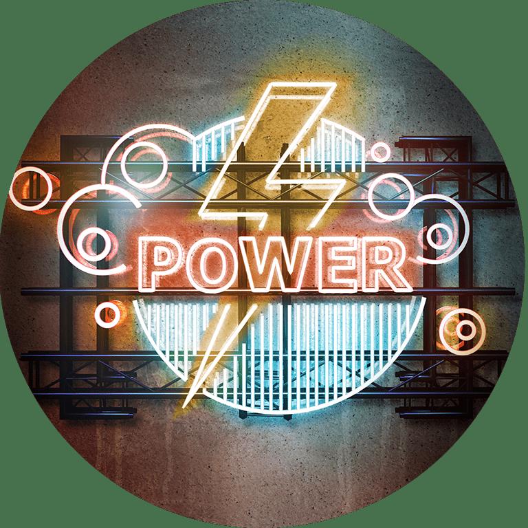"""Świecący napis """"Power"""""""